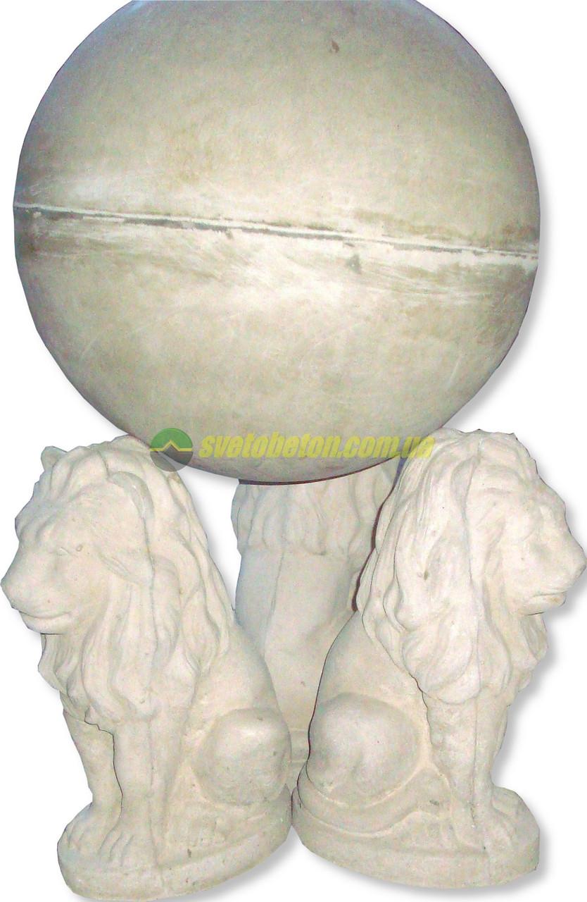 Лев скульптура на столб садовая фигура львы с шаром у входа, бетонная статуя для дачи.