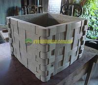 Квадратный бетонный вазон корзина, уличная клумба из бетона.