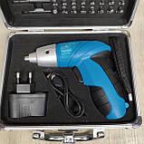 Акумуляторна викрутка з набором біт в кейсі, фото 3