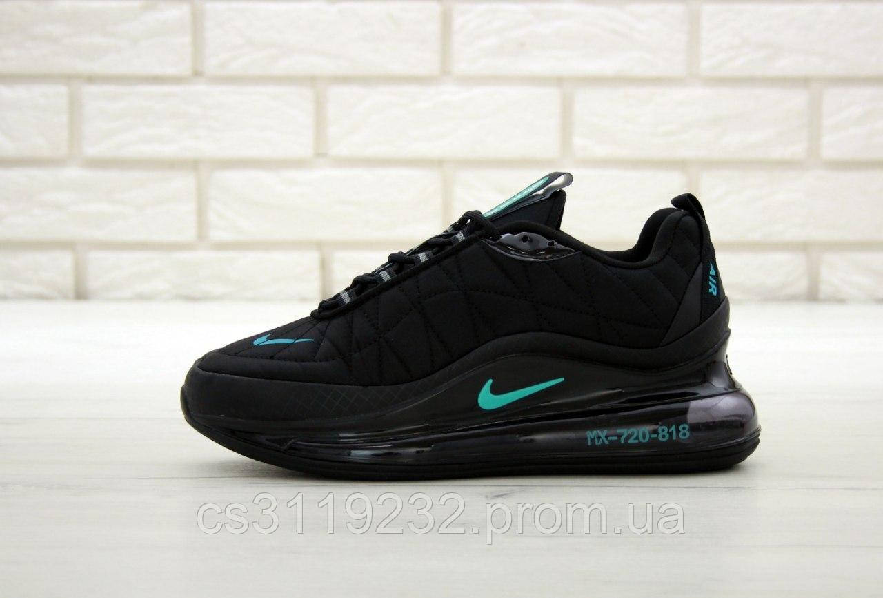 Мужские демисезонные кроссовки Nike Air Max 720-98 Black Blue logo (термо) (черные)