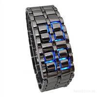 Часы-браслет Iron Samuray с синими светодиодными цифрами