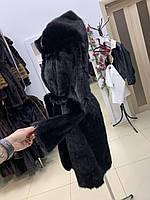 Черная норковая шуба с капюшоном украинская цельная норка 48 50