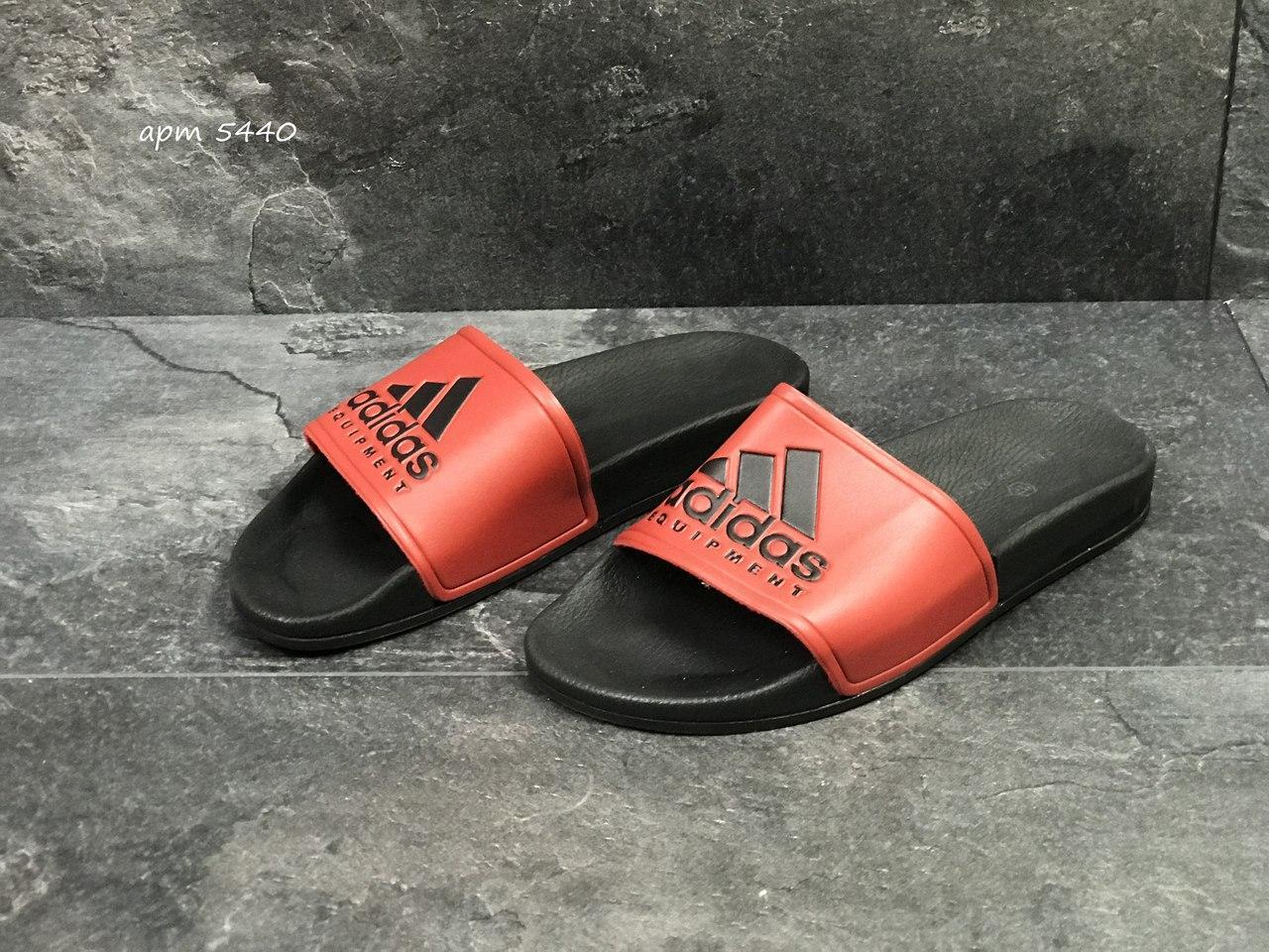 Мужские шлепанцы Adidas (реплика) черные с красным 41р