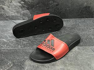 Мужские шлепанцы Adidas (реплика) черные с красным 41р, фото 2