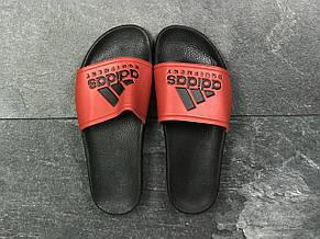 Мужские шлепанцы Adidas (реплика) черные с красным 41р, фото 3