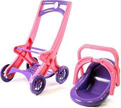 Коляска для кукол Долони (0122/02) Розово-фиолетовая, фото 2