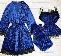 Женская велюровая пижама штаны и майка XL электрик