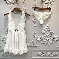 Эротический женский комплект белый пеньюар и трусики S-M