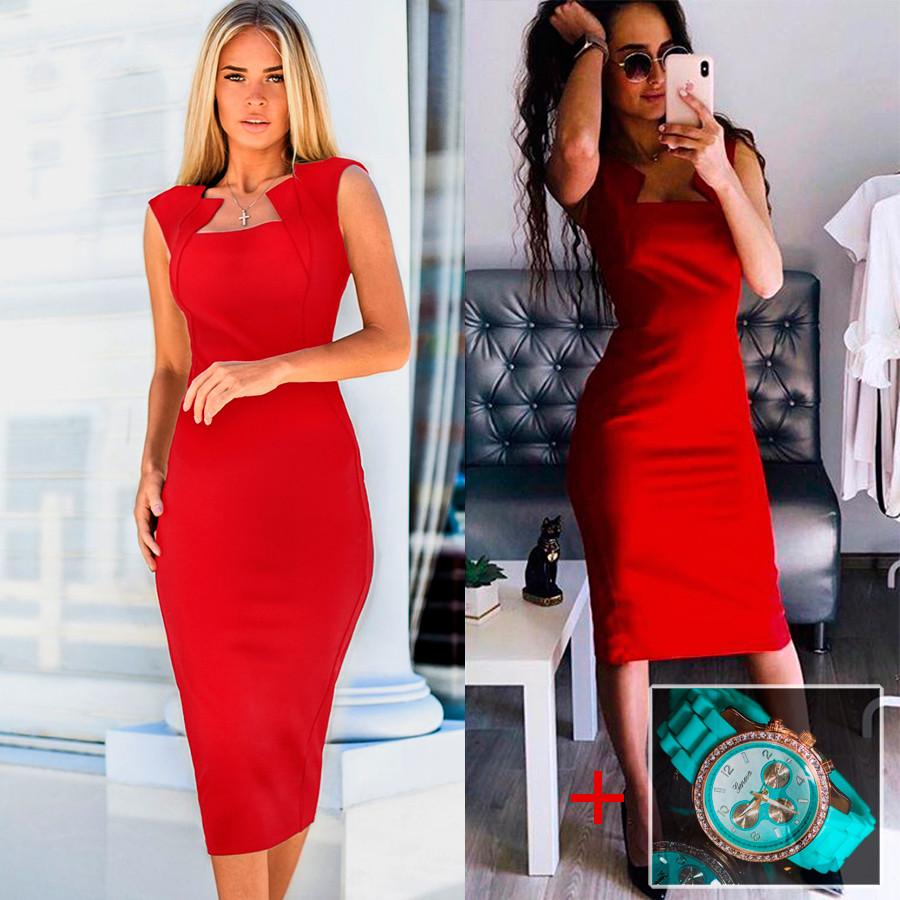 Красное платье (Код MF-424) + Часы в подарок!