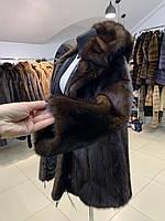 Норковый полушубок с капюшоном норка махаон 46 48