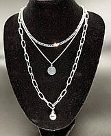 Колье цепочки 3 в 1 с подвесками (цвет серебро)