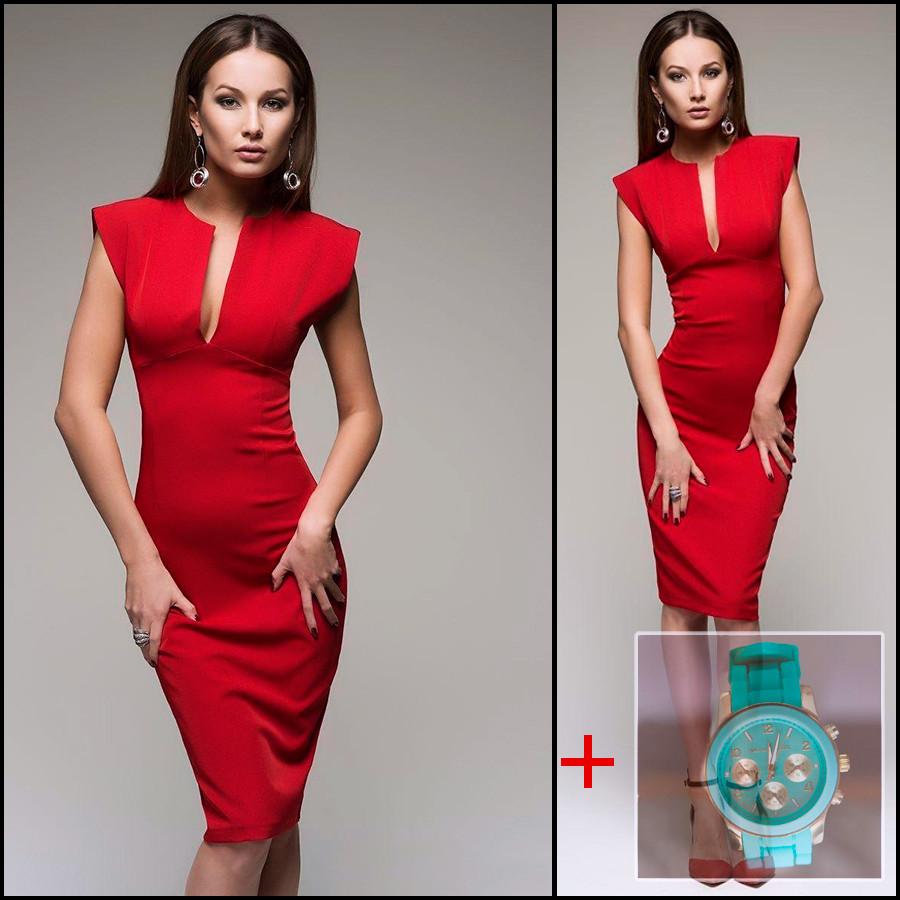 Красное платье (Код MF-427) + Часы в подарок!