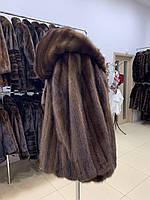 Новый полушубок с капюшоном из натуральной канадской норки 42 44 S