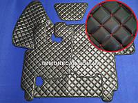 Автомобильные ковры из экокожи DAF XF 95 МКП чёрно-красные