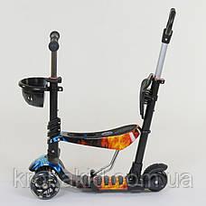 Самокат-беговел 5в1 Best Scooter с родительской ручкой, светящиеся колеса 21500, фото 3