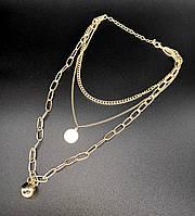 Колье цепочки 3 в 1 с подвесками (цвет золото)