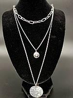 Колье цепочки 3 в 1 с подвесками медальонами (цвет серебро), фото 1