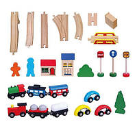 """Детская игрушка Viga Toys """"Железная дорога"""", деревянная 49 деталей (56304)"""