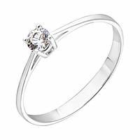 Золотое кольцо Единство в белом цвете с кристаллом Swarovski 000053304 16 размер