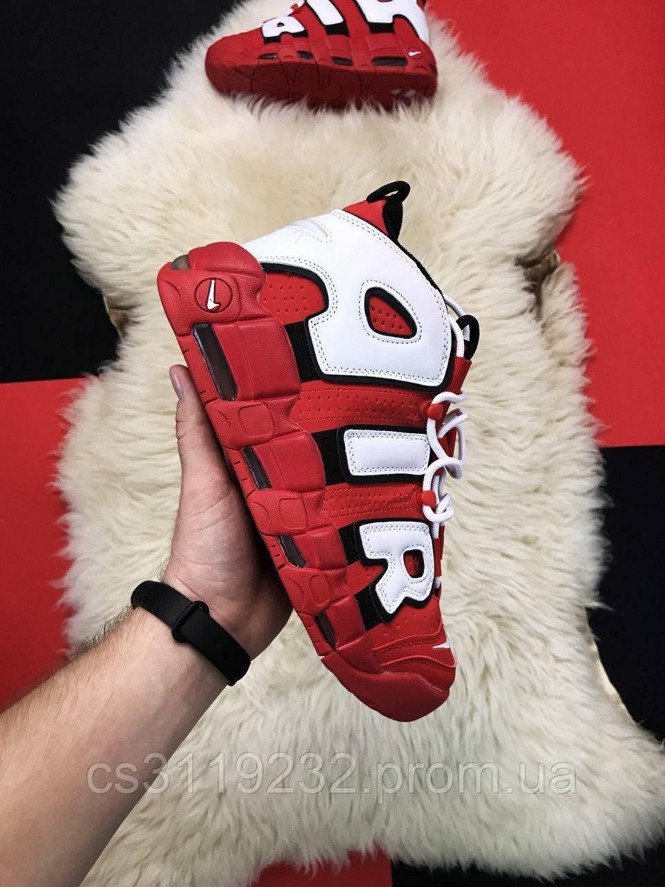 Мужские кроссовки Nike Air More Uptempo Red White (красно-белые)