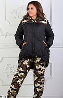 Женский зимний теплый костюм камуфляж плащевка на синтепоне большого размера 48-58 .