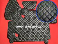 Автомобильные ковры из экокожи DAF XF 95 МКП чёрно-синие