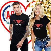 Футболки парные для влюбленных one love сердце с крыльями печать на футболках за 1 день