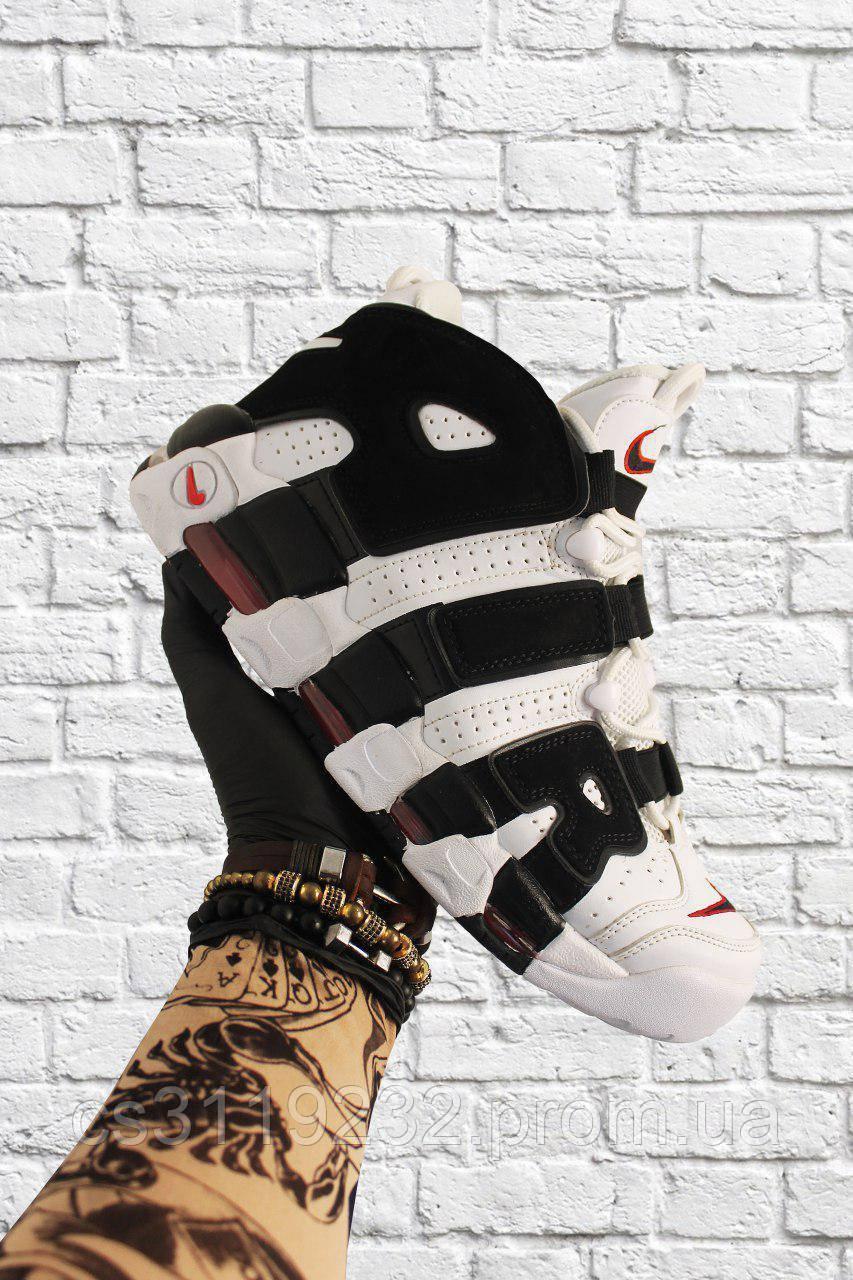 Мужские кроссовки Nike Air More Uptempo Black White (бело-черные)