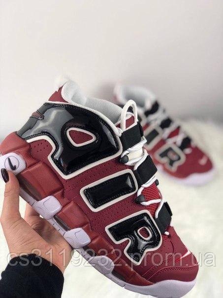 Мужские кроссовки Nike Air More Uptempo Red Black White (красный/белый/черный)