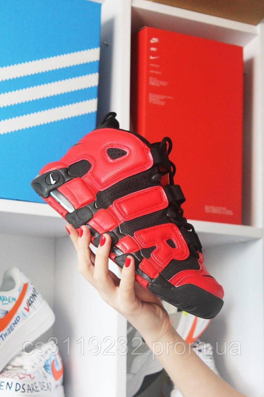 Мужские кроссовки Nike Air More Uptempo Red Black (красно-черные)