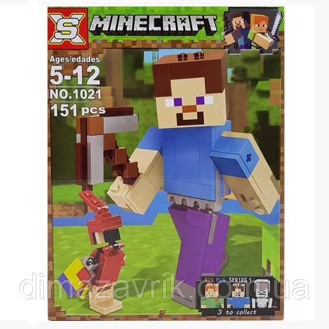 """Конструктор SX1021(Аналог Lego Minecraft 21148) """"Стив с попугаем""""151 деталь"""
