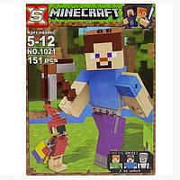 """Конструктор SX1021(Аналог Lego Minecraft 21148) """"Стив с попугаем""""151 деталь, фото 1"""