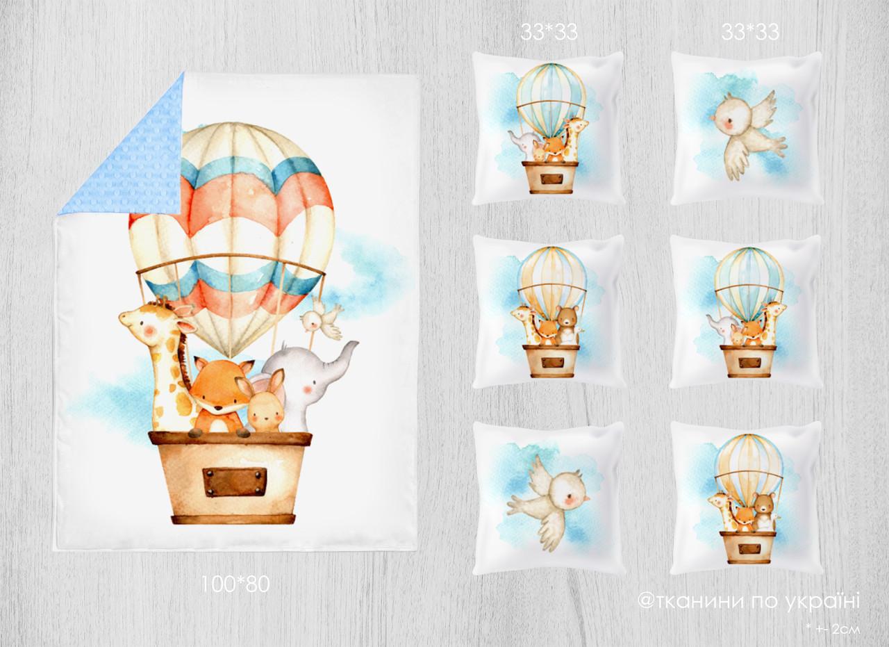 Набор сатиновых панелей Звери на воздушном шаре 100*80 + 33*33(6)