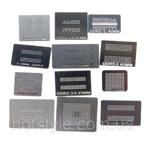 Набор из 12 BGA трафаретов для памяти DDR DDR2 DDR3