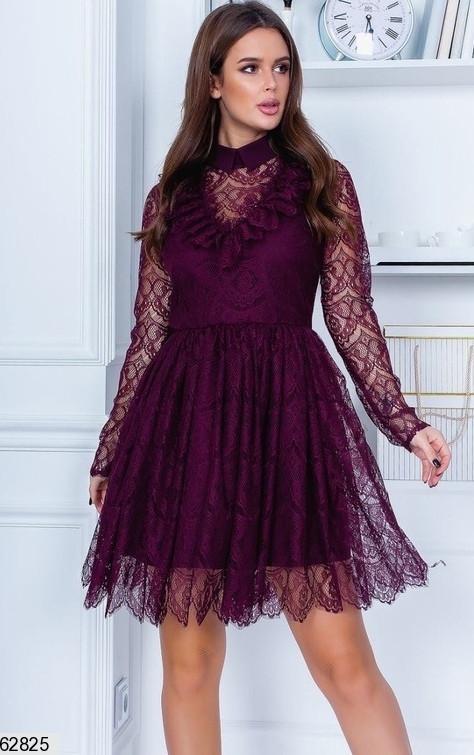 Женское нарядное гипюровое однотонное платье с завышеной талией и пышной юбкой цвет марсала
