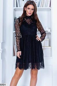 Женское нарядное гипюровое однотонное платье с завышеной талией и пышной юбкой цвет черный