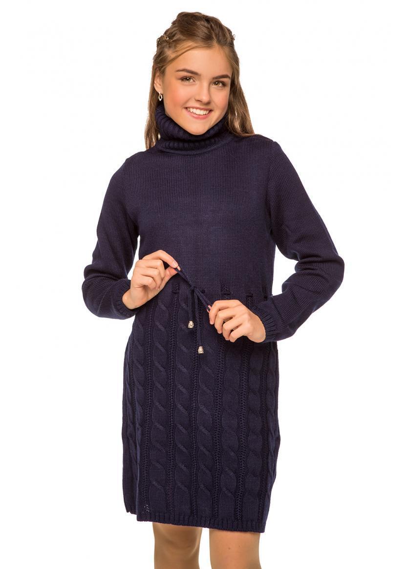 Платье вязанное для девочек Астрид, синее с высоким воротником