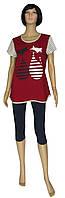 NEW! Женские костюмы - комплекты : туника и бриджи 20003 Котики стрейч-коттон ТМ УКРТРИКОТАЖ!