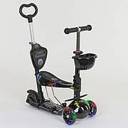 Дитячий триколісний самокат-беговел Best Scooter 5в1 колеса PU зі світлом 35110
