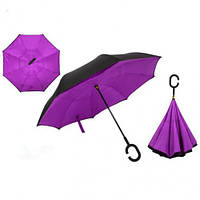 Ветрозащитный зонт обратного сложения д110см 8сп WHW17133, сиреневый