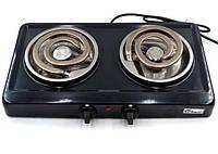 Плита электрическая на 2 комфорки Domotec настольнаяMS-5532 2x1000W Черный
