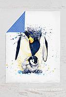 Панелька сатин Пингвины акварельные 100*80