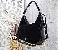 Женская сумка черного цвета,эко-кожа+натуральный замш