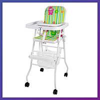 Стульчик для кормления Bambi M 0397-1 зеленый мишки Бемби детский стул | Стілець для годування Бембі