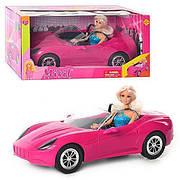Лялька в рожевому спортивному купе Porshe / Лялька з машинкою Defa 8228 / Машинка для дівчинки
