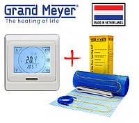 Теплый пол Grand Meyer 1350Вт/9м² нагревательный мат EcoNG150 с сенсорным программируемым терморегулятором E91