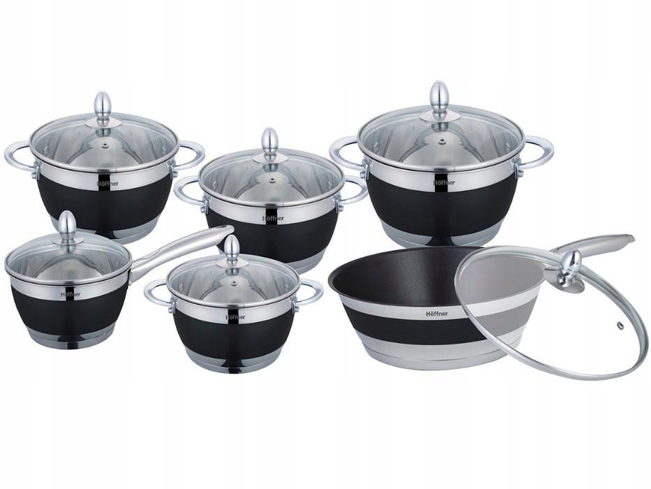 Набор кухонной посуды Hoffner 9969-(Grey) 12 элементов кастрюли, сковорода, сотейник