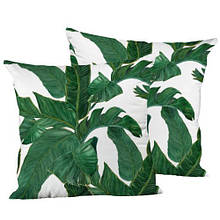 Подушка интерьерная шелк размер 45*45 см Листья
