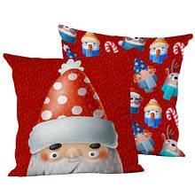 Подушка интерьерная шелк размер 45*45 см Санта