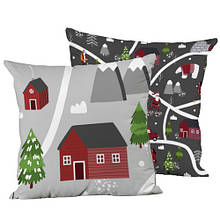 Подушка интерьерная шелк размер 45*45 см Новогодний мотив